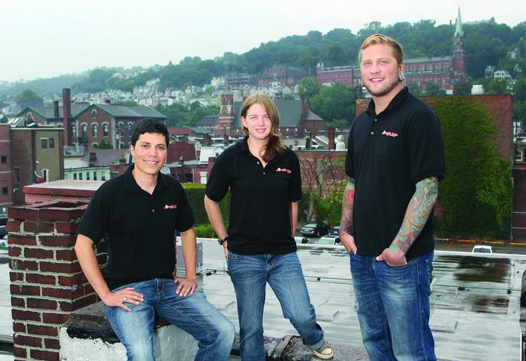 Shoutside Media's Micah Rosa, left, Cheryl Spencer and Brent Vaccaro. Rosa is the CEO and all are part-owners.