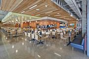 The Callaway Housing dining hall is a far cry from Animal House. It includes Wi-Fi access throughout and several wide screen TVs.