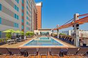 The pool and deck is the perfect place to unwind after a hectic day in class.