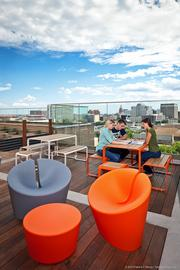 A cozy study deck overlooks downtown Austin. Sixthriver Architects in Austin handled all the interior design.