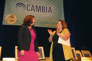 Terri Sorensen, left, of Friends of the Children, with Peggy Maguire of Cambia Health Foundation.