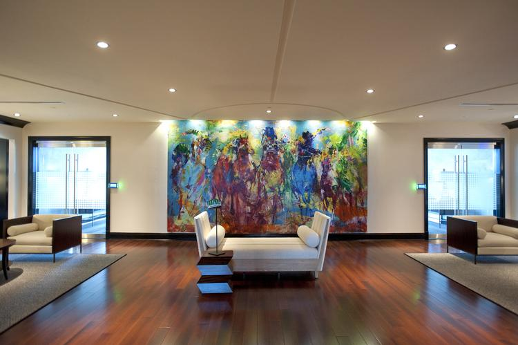 A LeRoy Neiman painting greets visitors as they enter the executive offices of Churchill Downs Inc. at 600 North Hurstbourne.  ____________________________________________      The basics Transaction: Churchill Downs Inc. moved 121 members of its corporate staff mainly from its former office location at 700 Central Ave. to a fourth-floor leased space at 600 North Hurstbourne in the ShelbyHurst Research and Office Park. NTS Development Co. and the University of Louisville Foundation Inc. developed the building. Address: 600 North Hurstbourne building, 600 N. Hurstbourne Parkway, Louisville, Ky. 40222 Primary tenant broker: David Hardy and David Williams, CBRE/Louisville  Primary landlord broker: Tony Fluhr, NTS Development Co.  Primary lead developer: Brian Lavin, NTS Development Co.  Cost: $8.09 million, based on cumulative rent due over a 10-year term Square feet: 33,172