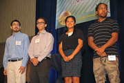 Awards ceremony guests of honor who helped hand out awards from the nonprofit community are, from left to right, Rudy Rolon Rivas, Malcolm Warren, Asucena Mora and Mikale Stewart. These students have benefitted from nonprofit programs that many of the Corporate Philanthropy Award winners contribute to.