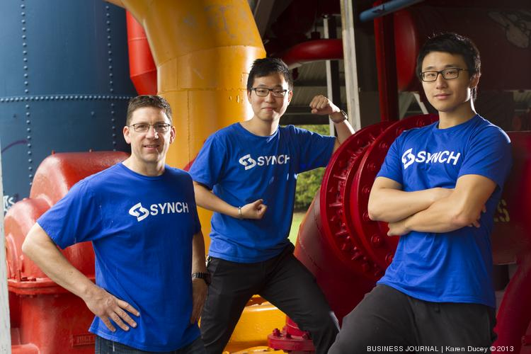 From left, Synch CEO Scott Dyer; Chief Technology Officer Sullivan Liu; and vice president of data analysis Changhao Han. Synch has developed a mobile software system that helps companies manage their inventory.