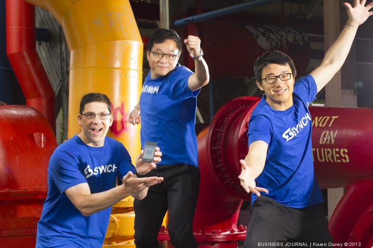 From left, Synch CEO Scott Dyer, Sullivan Liu, CTO and Changhao Han, VP of Data Analysis. TechFlash Cup finalist Synch has developed a mobile software system that helps distribution and manufacturing companies manage their inventory by syncing with a back-end office system for real-time inventory tracking.
