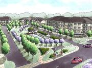 Rendering of the Cranberry Woods Apartments.