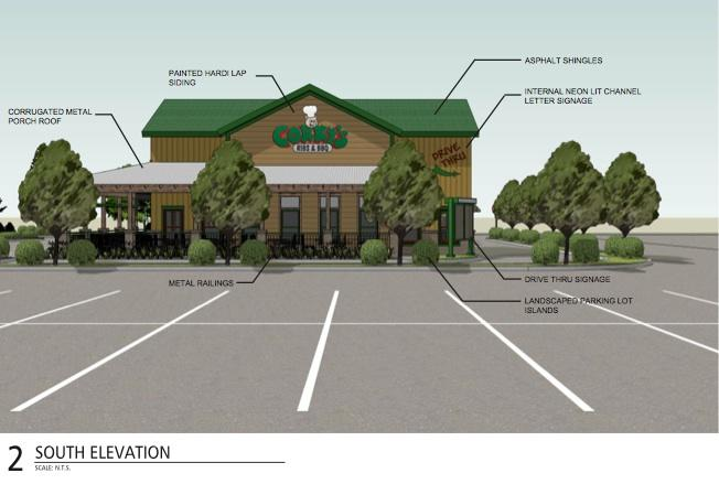 An artist's rendering of the new Olive Branch Corky's BBQ