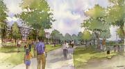 A rendering of a new park along the east side of the Scioto River, looking south with new development along a relocated Riverside Drive.