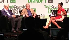 Kleiner Perkins' co-founder Tom Perkins, left, and Sequoia Capital founder Don Valentine held court at TechCrunch Disrupt this year. Perkins is now in the news for a controversial letter to the editor of the Wall Street Journal.