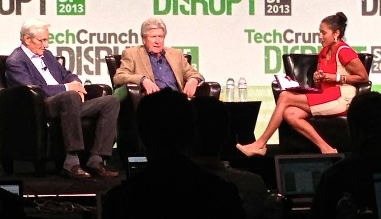 Kleiner Perkins' co-founder Tom Perkins, left, and Sequoia Capital founder Don Valentine held court at TechCrunch Disrupt on Wednesday in an interview with Leena Rao.