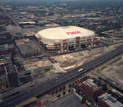 Edward Jones Dome (formerly known as TWA Dome), St. Louis.  Opened: 1995. Cost: $188 million. The stadium is home to the St. Louis Rams. It's the only NFL stadium that Mortenson built prior to the upcoming Minnesota Vikings project.