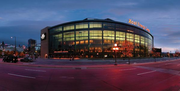 Xcel Energy Center, St. Paul. Opened: 2000. Cost: $150 million. The glass curtain wall on the west side of the arena is 23,000 square feet and contains more than 500 pieces of glass. The arena is home to the Minnesota Wild and hosts concerts and other events.