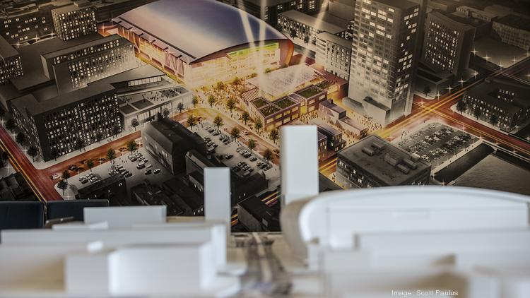 A model of the new Milwaukee Bucks arena district has been built as part of a preview center to show what the area could look like using 4-D technology.