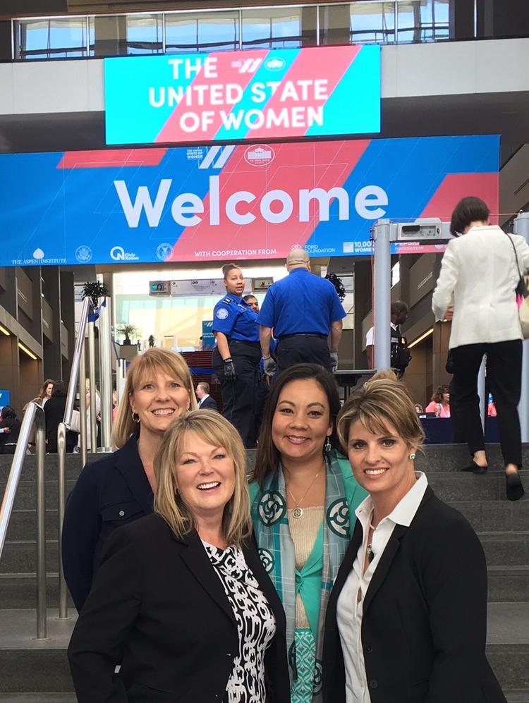 The executive committee of the National Association of Women Business Owners attended the first-ever White House Summit on the United State of Women in Washington, D.C. From left: Kathy Warnick, treasurer; Darla Beggs, immediate past chair; Crystal Arredondo, National Chair, MPACT Financial Group; and Teresa Meares, chair elect.