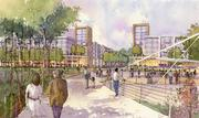 A rendering showing the pedestrian bridge's landing point in the park on the east side of the Scioto River, looking east toward conceptual new development at the intersection of Riverside Drive and Dale Drive (near the current Shoppes at River Ridge).