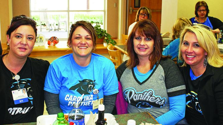 Hugh Chatham built team spirit and camaraderie on the Friday and Sunday of Super Bowl week, with employees wearing their team shirts, tailgating and competing for prizes through a word scramble.