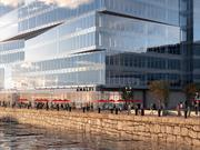 A rendering of the outside of the Pier 4 development.