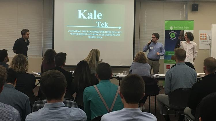 Kale-Tek makes a pitch in May during the Cleantech Challenge. The Lewis & Clark College startup is among nine semifinalists vying for a $10,000 prize.