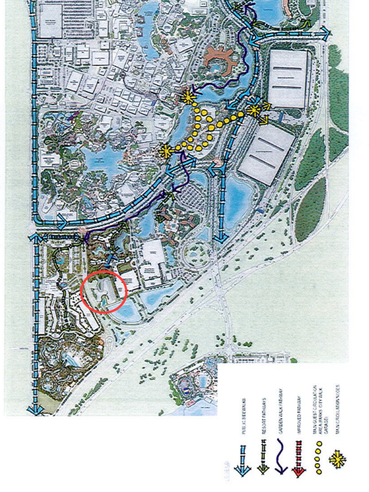 This proposed pedestrian circulation plan submitted (rotated to the proper geographic direction of the property) by Universal shows proposed walkways around the entire property. The red circle (added by Orlando Business Journal) shows what could be the location of the hotel just south of Sapphire Falls Resort, as well as two future water features to the south.