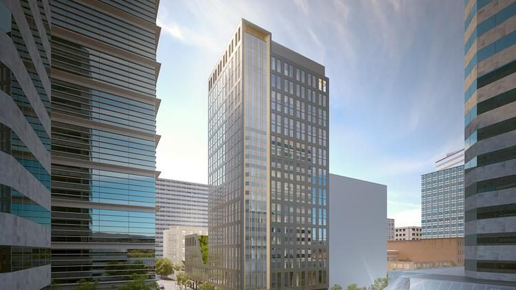 The latest rendering of a 20-story hotel planned for a downtown block that's currently home to the Lotus Cardroom and Cafe.