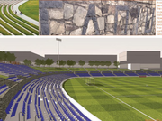 A rendering of the finished renovation project proposed at Memorial Stadium in Charlotte.