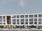A view of the south face of the Lenox Addition Apartments, which are coming to a long-dormant at Southeast 52nd Avenue and Southeast Holgate Boulevard.