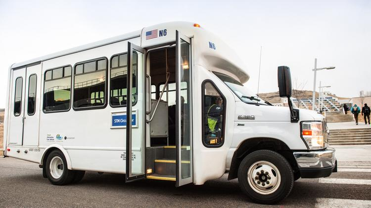 A shuttle used to carry visitors and employees on NREL's 632-acre campus in Golden.