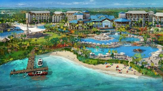 An aerial look at the Margaritaville hotel at the $750 million Margaritaville Orlando project.