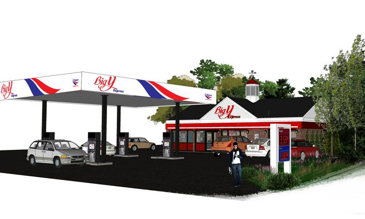 A drawing of Big Y Express, a joint-venture convenience store between Big Y and F.L. Roberts.
