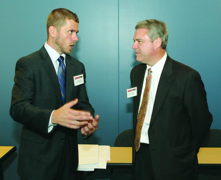 The Pittsburgh Business Times held its quarterly Corridors of Opportunity, this time focused on Butler County, at the Regional Learning Alliance in Cranberry Township. Jason Kennedy, left, of On The Edge Inc. and Lawrence Barger of Alpern Rosenthal.