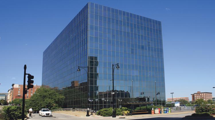 """The Executive Plaza Office Building — aka """"the Flashcube Building"""" — is at 720 Main St."""
