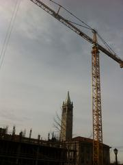 The yellow tower crane at the Campbell Hall site.