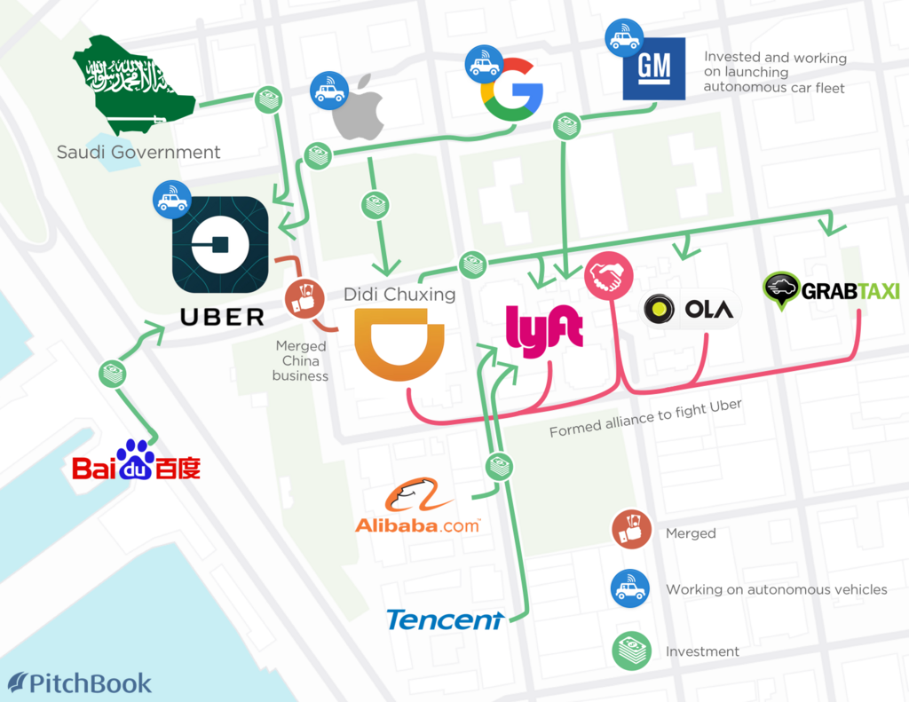 Heres A Map Of The Ondemand Ride Traffic Jam After Ubers Huge - Us map silicon valley