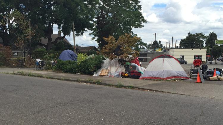 The rules allowed people to openly camp on such lots as this space at Southeast 52nd Avenue and Lafayette Street.