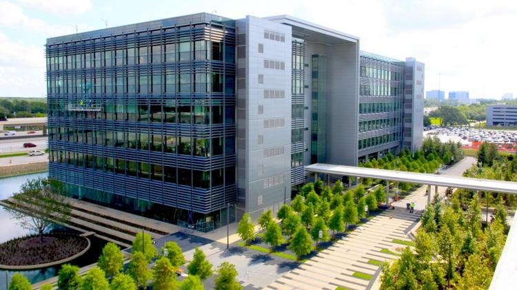 BP is putting its 390,000-square-foot Helios Plaza office building up for sale.