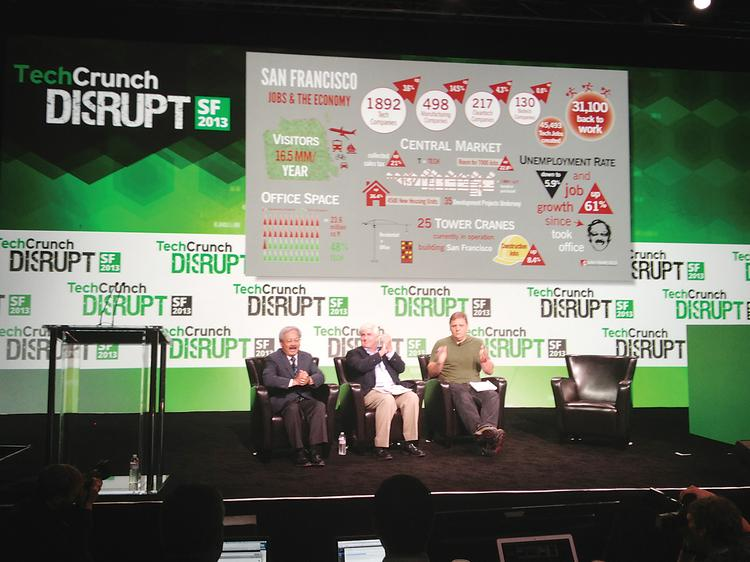 Mayor Ed Lee (left) welcomed the TechCrunch Disrupt conference to San Francisco, with Ron Conway (center) and Michael Arrington.
