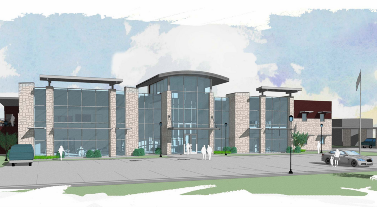 A rendering of Pedernales Electric Cooperative's Marble Falls operations center. The coop hopes to build a similar facility in Leander but needs the land rezoned.
