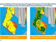 Maps show a comparison of NFIP premiums to private market premiums in Pinellas County.