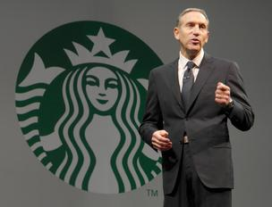 Howard Schultz, Chairman, President and CEO of Starbucks, speaks at the 2013 annual shareholders meeting at McCaw Hall in Seattle on Thursday.