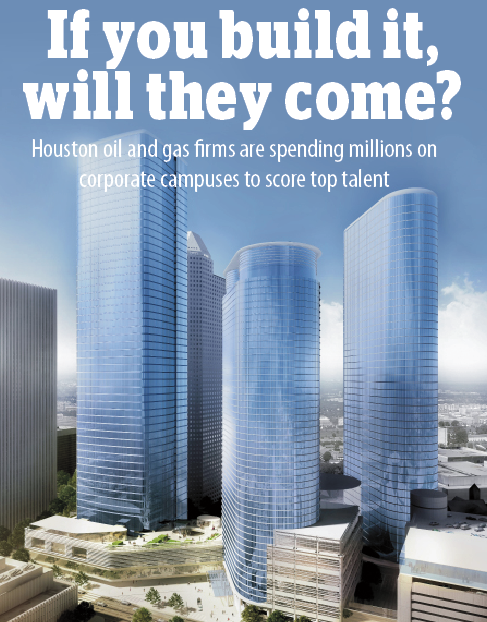 Houston oil and gas firms are spending millions on corporate campuses to score top talent.  Click through the slideshow to see which energy companies are building new digs or expanding their campuses.   Find more details about all these projects in pages 6-11 of this online article.