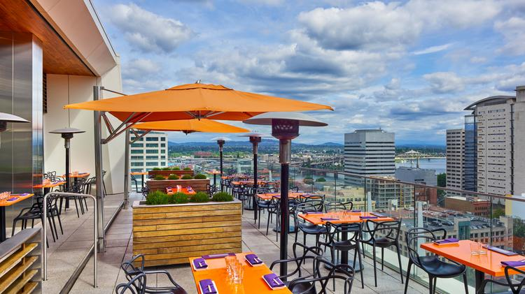 The rooftop deck at Departure, the Asian restaurant atop The Nines Hotel. The hotel recently completed a renovation of the entire hotel, which included new artwork, furnishings and several remodeled spaces.