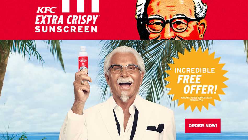 Funny Kentucky Fried Chicken: KFC Unveils Fried-chicken-scented Sunscreen