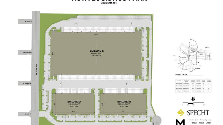 A site map of the Vista Logistics Park in Gresham shows the layout of the three buildings now under construction. When completed in just over a year, the buildings will deliver more than 732,000 square feet of industrial space.