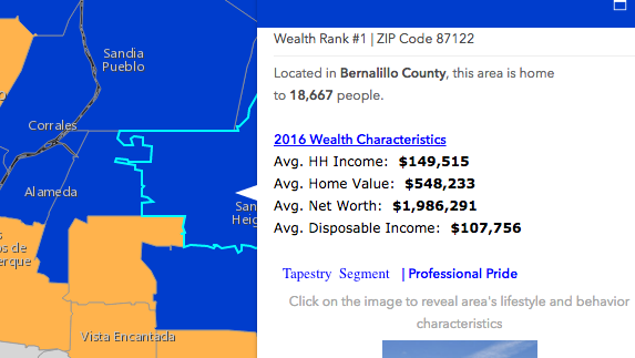 Esri Map Wealthiest Zip Codes Albuquerque Business First