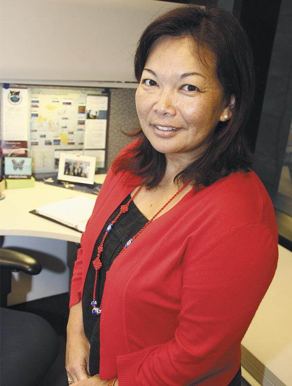 Tracey Saiki intends to use the communications skills she developed as an Air Force officer to forge stronger bonds between the military and local businesses.