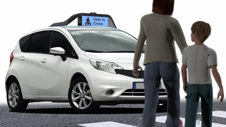A Mountain View startup has developed a rooftop communications system to communicate with pedestrians and human drivers what self-driving cars are about to do.