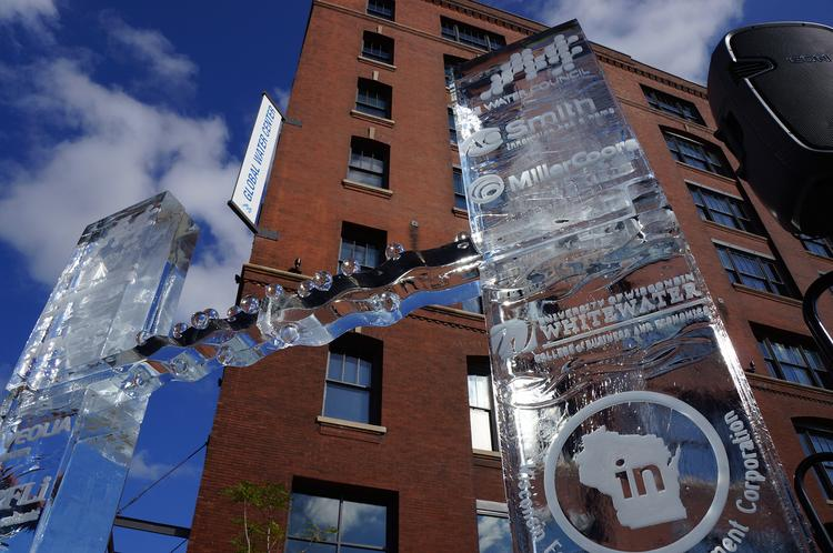 A special ice sculpture featuring the logos of the Global Water Center tenants and supporters was erected Thursday for the building's grand opening press conference.
