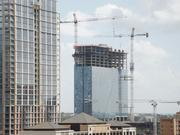 Construction hums at the Fairmont Hotel on the eastern edge of downtown Austin earlier in September.