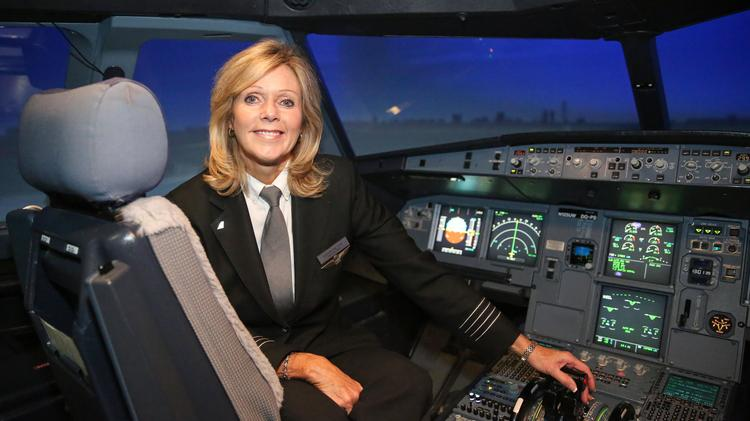 """Capt. Lori Cline is pictured inside the Airbus A320 simulator where she was filmed for the movie """"Sully"""" at the American Airlines training center in Charlotte."""