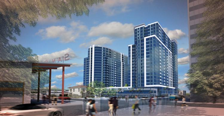 A new development from KT Properties is proposed for downtown San Jose, across from the entrance to San Pedro Square Market. It was one of several new proposals for the area. But the year was also characterized by hardhats, as housing went vertical across the region.